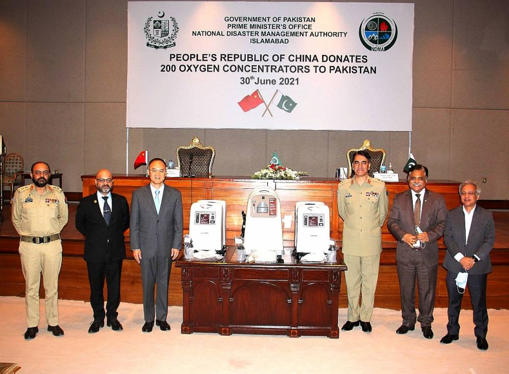 China donates 200 Mobile Oxygen concentrators to Pakistan, oxygen concentrators were handed over to Chairman NDMA by China's Ambassador in Pakistan