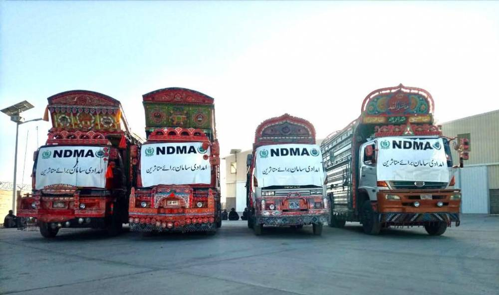 NDMA dispatched relief goods assistance for Earthquake affectees of Harnai, Balochstan.