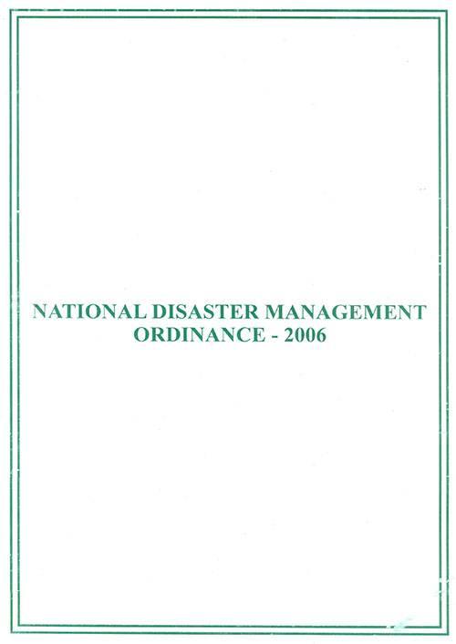 National Disaster Management Ordinance 2006