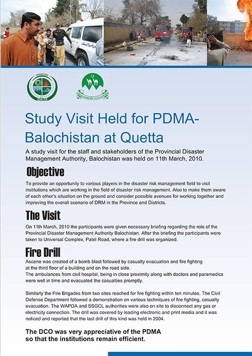 Study Visit held for PDMA-Balochistan at Quetta