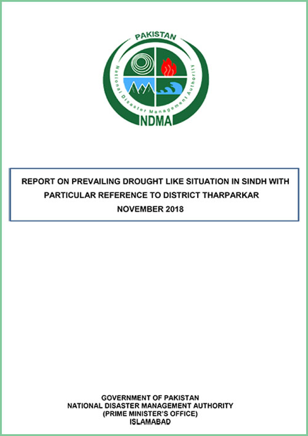 Drought Situation Report of Sindh Particularly in District Tharparkar-2018 (12-11-2018)
