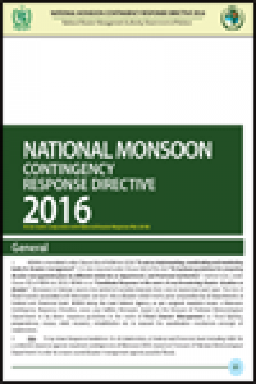 National Monsoon Contingency Response Directive 2016