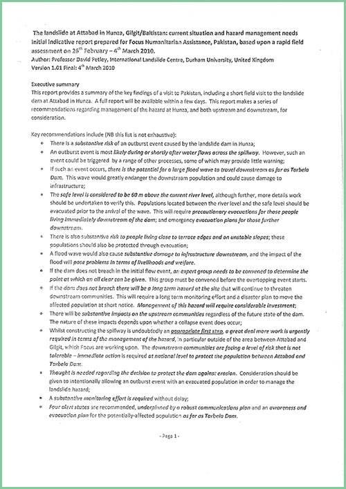 Report by Proff. Dr. David N. Petley on Hunza Landslide